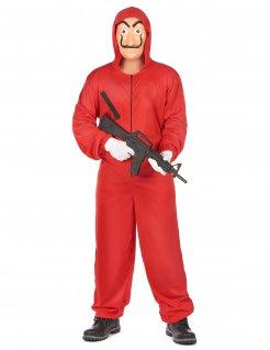 Bankräuber-Kostüm mit Kapuze rot