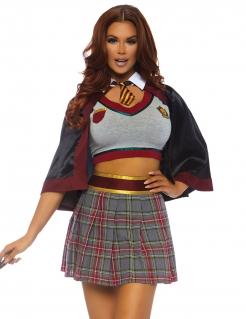 Sexy Zauberschülerin-Kostüm für Damen Halloweenkostüm grau-rot
