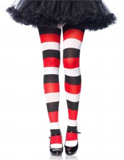 Harlekin-Strumpfhose gestreift Halloween-Accessoire schwarz-weiss-rot