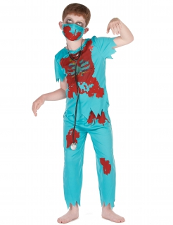 Zombiearzt-Kostüm für Kinder Halloween blau-rot