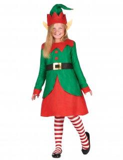 Weihnachtselfen-Kostüm für Mädchen grün-rot-schwarz
