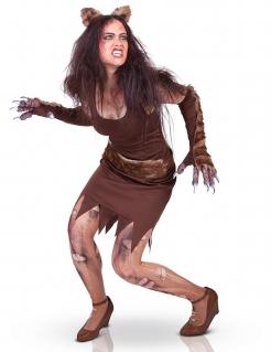 Sexy Werwolf-Damenkostüm Halloweenkostüm braun