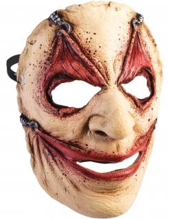 Horror-Maske mit Hautfetzen Halloween-Asseccoire hautfarben-rot