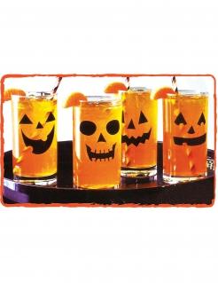 12 Kürbis-Aufkleber für Gläser Halloween-Dekoration schwarz