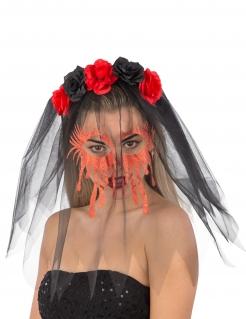 Haarreif mit schwarzem Schleier und Rosen Halloween schwarz-rot