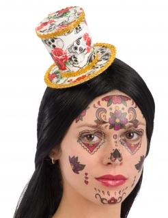 Minihut für Damen Accessoire Día de los Muertos weiss-rot