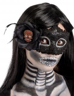 Día de los Muertos-Augenmaske Halloween-Accessoire schwarz