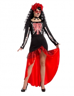 Flamenco-Tänzerin Día de los Muertos Halloween-Kostüm schwarz-rot
