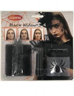 Spinnen-Makeup Set Halloween Make-up 7-teilig schwarz