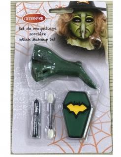 Hexen-Set für Kinder Halloween-Makeup und falsche Nase 4-teilig grün