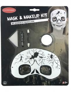 Skelett-Make-up mit Augenmaske Schminkset 5-teilig weiss-schwarz
