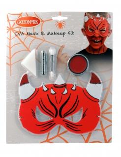 Schminkset und Maske für Teufel 5-teilig Halloween rot
