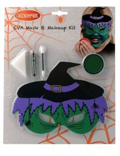Hexen-Schminkset mit Maske für Kinder Halloween-Makeup 5-teilig grün-violett