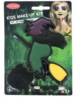 Hexen-Schminkset für Kinder 3-teilig Halloween-Makeup schwarz-bunt
