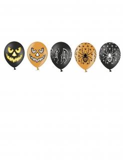 20 Luftballons bedruckt Halloween-Dekoration orange-schwarz
