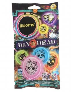 LED-Luftballons Día de los Muertos Illooms™ 5 Stück bunt