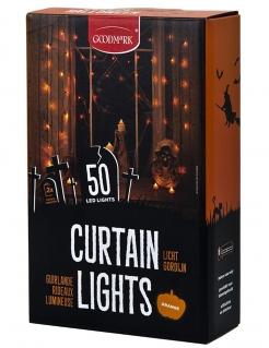 Beleuchtete Halloween-Girlande mit 50 LEDs schwarz-orange