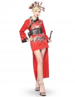 Kimono-Damenkostüm Faschingskostüm rot-schwarz