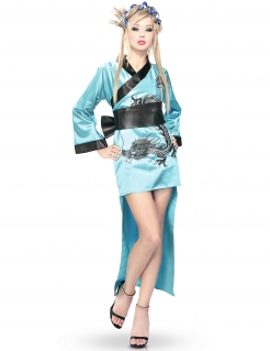 Kimono-Kostüm für Damen blau-schwarz