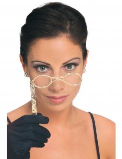 Retro-Brille Kostüm-Accessoire weissgold