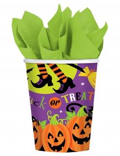 Halloween-Trinkbecher Trick or Treat Tischdeko 8 Stück bunt 266 ml