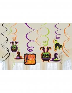 Spiral-Dekoration Halloween 12 Stück bunt