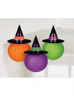 Halloween-Laternen mit Hexenhüten 3 Stück orange-lila-grün 24cm