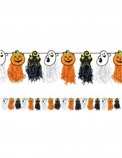 Halloween-Girlande für Kinder Kürbisse, Katzen und Gespenster orange-schwarz-weiss 2,4m