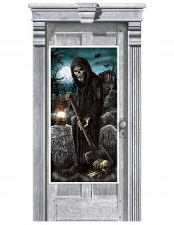 Türdekoration Totengräber Halloween schwarz-blau 165x85cm