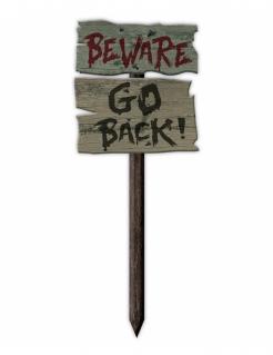 Schild Beware Go Back Halloween-Dekoration grau-schwarz-rot 54x20cm