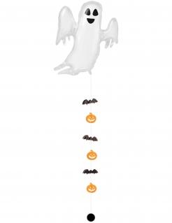 Aufblasbares Skelett mit Hängedeko Skelett-Ballon für Halloween weiss-schwarz-orange 68x264cm