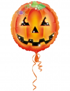 Halloween-Luftballon Funkelnder Kürbis für Kinder orange 43cm