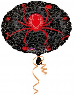 Spinnen-Luftballon aus Aluminium Halloween-Dekoration schwarz-rot 43cm