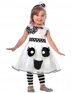 Niedliches Geister-Kostüm für Mädchen Halloween weiss