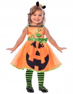 Kürbiskostüm für Kinder Halloween orange-schwarz-grün