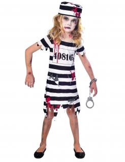 Zombie-Gefangene Kostüm für Mädchen Halloween schwarz-weiss