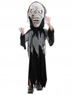 Sensenmann-Kostüm für Kinder mit großem Kopf Halloween schwarz-weiss
