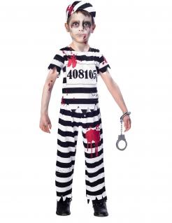 Zombiegefangener-Kostüm für Kinder Halloween schwarz-weiss