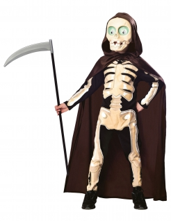 Lustiges Sensenmann-Kostüm für Kinder Kleiner Tod schwarz-beige