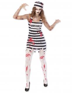 Zombiegefangenen-Kostüm für Damen Halloween schwarz-weiss