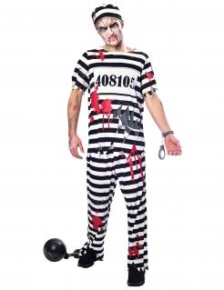 Zombiegefangener-Kostüm für Herren Halloween schwarz-weiss