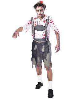 Oktoberfest-Zombie Verkleidung für Männer Halloween weiss-grau-rot