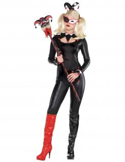 Harlekin-Kostümset für Damen schwarz-rot-weiss