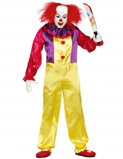Horrorclown-Kostüm Halloweenkostüm gelb-rot