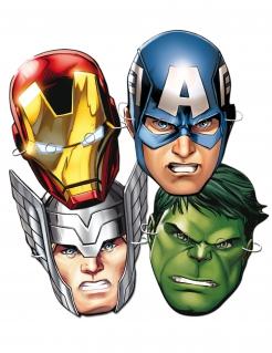 Avengers™-Partymasken Marvel™-Pappmasken für Kinder 6 Stück rosa
