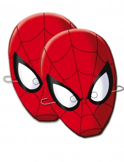 Spider-Man™-Pappmasken Marvel™-Partymasken für Kinder 6 Stück rot