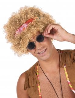Afro-Perücke Hippie Kostüm-Accessoire blond-bunt