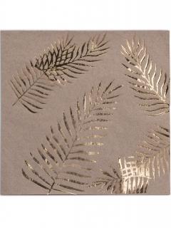 Servietten aus Kraftpapier Palmen Tischdeko 16 Stück braun-gold 33x33cm