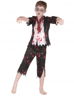 Zombie-Schüler Kostüm für Jungen Halloween-Kostüm schwarz-weiss-rot