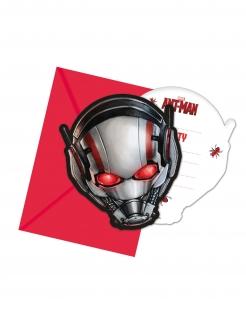 Ant Man™-Einladungskarten und Umschläge 6 Stück rot-silber 14x9cm